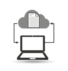 cloud computer connected document vector image
