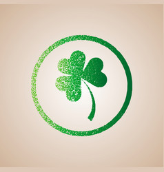 clover leaves in circle frame happy st patrick s vector image