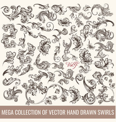 Collection of hand drawn flourishes engraved style vector