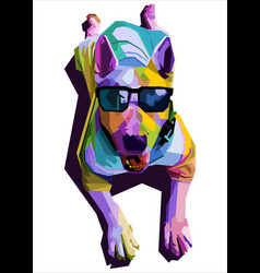 Colorful cute dog sitting wearing glasses on pop vector