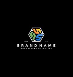 Colorful hexagon letter s logo design vector