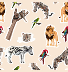 colorful pattern with tiger leopard lion birds vector image