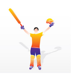 cricket player celebrate success vector image