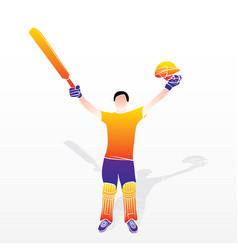 cricket player celebrate success vector image