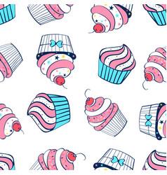 cupcake print design seamless pattern vector image