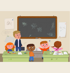 dirty school classroom with teacher and naughty vector image