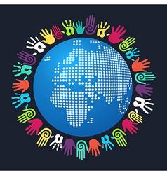 Diversity human hand map vector image