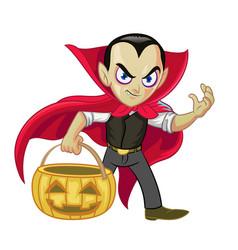 dracula cartoon character hold halloween vector image