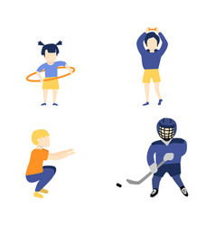 Flat boy girl kids doing sports vector