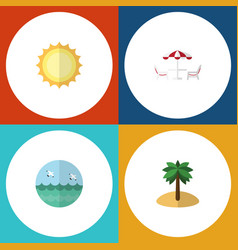 Flat icon beach set of ocean recliner sunshine vector