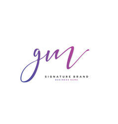 G m gm initial letter handwriting and signature vector
