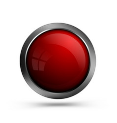 glass red button for web design vector image
