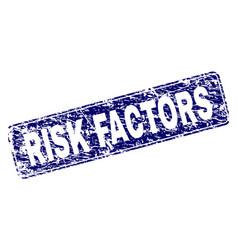 Grunge risk factors framed rounded rectangle stamp vector