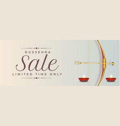 Happy dussehra sale banner with realistic bow vector