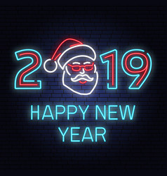 happy new year 2019 neon sign with santa claus vector image