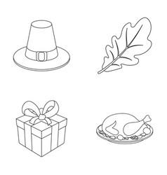 Hat of a pilgrim oak leaf gift in a box fried vector