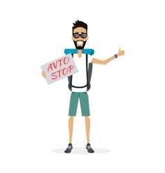 Hitch-Hiking Traveller Character vector image