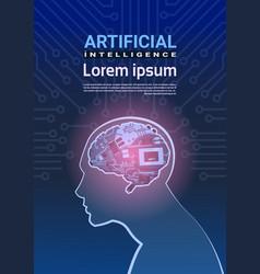 Human head with cyborg brain over circuit vector