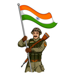 Indian army soilder holding falg of india with vector