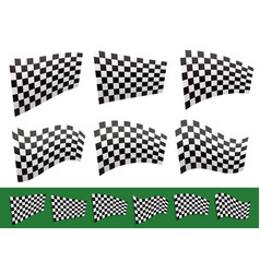 Isolated checkered flags with different vector