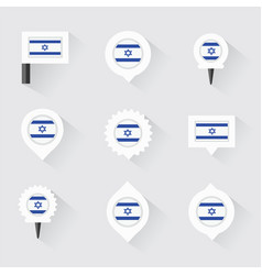 israel flag and pins for infographic and map vector image