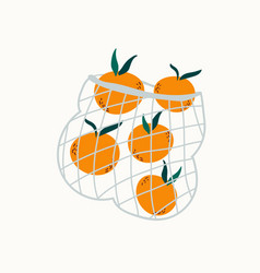 juicy mandarins in reusable mesh shopping bag vector image