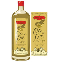 Label for olive oil with countryside landscape vector