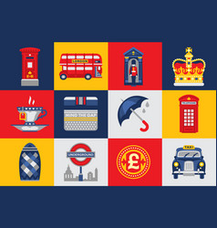 London icons set traditions symbols of england vector
