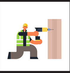 Male builder using electric drill busy workman vector