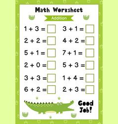 Math worksheet for kids addition matematic vector