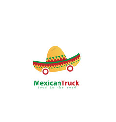 mexican truck food logo design vector image
