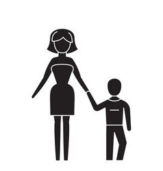 mother and son black concept icon mother vector image