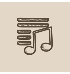 Musical note sketch icon vector image