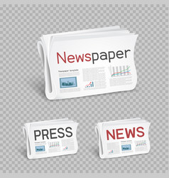 newspapers set transparent background vector image