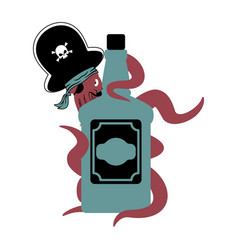 octopus pirate and bottle of rum poulpe buccaneer vector image
