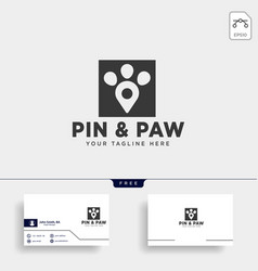 Pin or location pet animal logo template icon vector