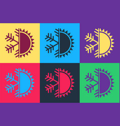 Pop art hot and cold symbol sun and snowflake vector