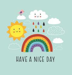 Poster with cute rainbow cloud bird and sun vector