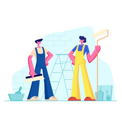 professional construction workers with tools vector image