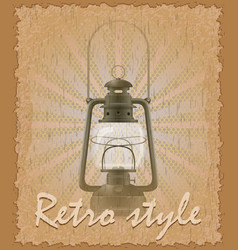 Retro style poster old kerosene lamp vector