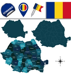 Romania map with named divisions vector