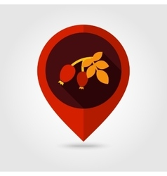 Rosehip branch with red berries flat pin map icon vector