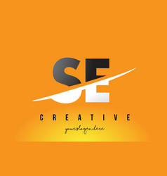 Se s e letter modern logo design with yellow vector