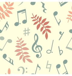 Seamless pattern of music notes and leaves vector