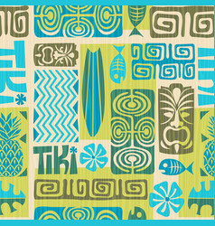 Seamless retro tiki pattern vector