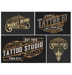 set 4 tattoo and whiskey logos with vintage vector image