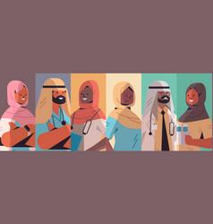 Set arabic doctors avatars arab men women wearing vector