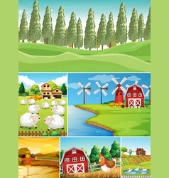 set farm scene vector image