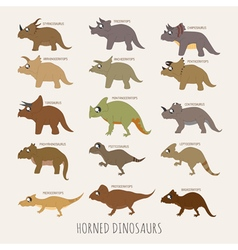 set horned dinosaurs eps10 format vector image