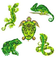 Set of reptiles green vector